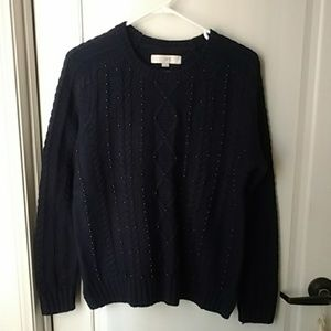 New Navy Blue Cable knit Sweater Large